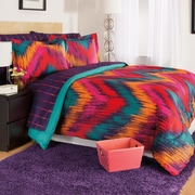 Josh & Posh Kidz Chevron Tie Dye Berry 3 Piece Comforter Set; Full