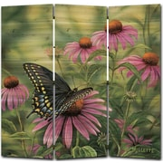 WGI GALLERY 68'' x 68'' Black Swallowtail Butterfly 3 Panel Room Divider