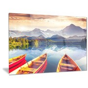 DesignArt Metal 'Boats Heading to Lake' Photographic Print; 12'' H x 28'' W