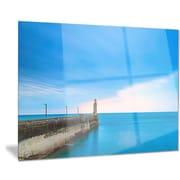 DesignArt Metal 'Pier and Lightour in Sunset' Photographic Print; 28'' H x 36'' W