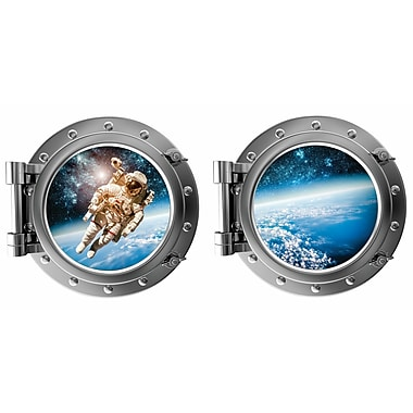 DecaltheWalls Astronaut and Planet Earth Porthole Fabric Wall Decal