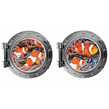 DecaltheWalls Clown Fish Porthole Fabric Wall Decal
