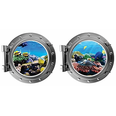 DecaltheWalls Colorful Fish Underwater w/ Coral Porthole Fabric Wall Decal