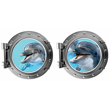 DecaltheWalls Laughing Dauphin Pair Porthole Fabric Wall Decal