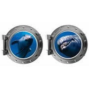 DecaltheWalls Friendly Dauphins Porthole Fabric Wall Decal