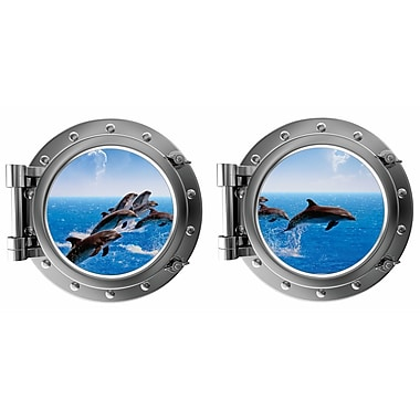 DecaltheWalls Jumping Dauphins w/ Clouds Porthole Fabric Wall Decal