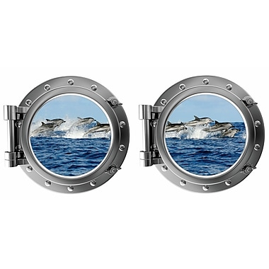 DecaltheWalls Jumping Dauphins Porthole Fabric Wall Decal