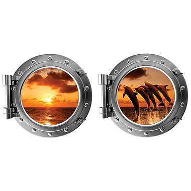 DecaltheWalls Jumping Dauphins at Sunset Porthole Fabric Wall Decal
