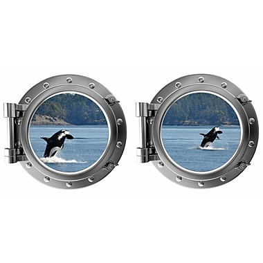 DecaltheWalls Killer Whales Breaching Porthole Fabric Wall Decal