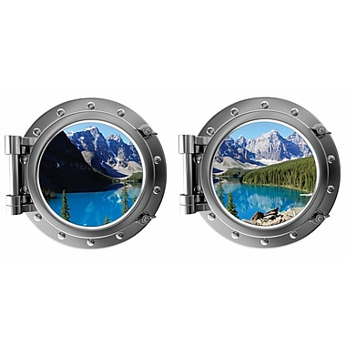 DecaltheWalls Mountains and Lake Moraine Lake Canada Porthole Fabric Wall Decal