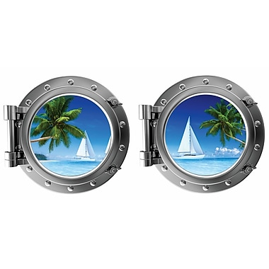 DecaltheWalls Tropical Island Beach and Sailboat Porthole Fabric Wall Decal