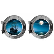 DecaltheWalls Pirate Ship and Full Moon Porthole Fabric Wall Decal