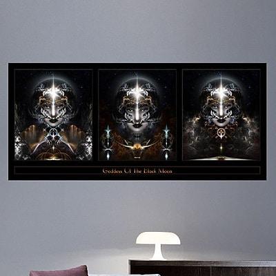 Wallhogs Xzendor7 Goddess of The Black Moon Triple Wall Mural; 11'' H x 24'' W