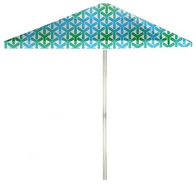 Best of Times 8.5' Square Market Umbrella; Green/Blue/White