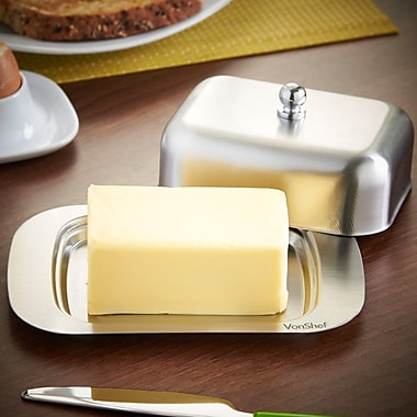VonShef Stainless Steel Butter Dish w/ Lid