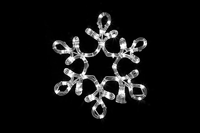 Queens of Christmas Rope Lit Snowflake w/ Star Middle; Pure White