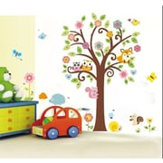 RetailSource Full Tree of Flowers and Forest Friends Wall Decal