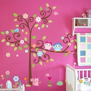 RetailSource Curled Tree of Owls and Friends Wall Decal