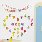 RetailSource Alphabet Letters Animals and Pennants Wall Decal