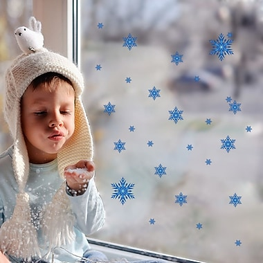 RetailSource Blue Frosted Snowflakes Wall Decal
