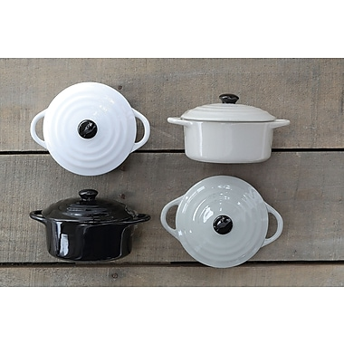 Creative Co-Op 4 Piece Stoneware Mini Baker w/ Lid Set
