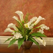 Floral Home Decor Calla Lily and Orchid Silk Flower Arrangement