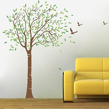 Pop Decors Lovely Tree Wall Decal; Chocolate Brown/Lime Tree Green
