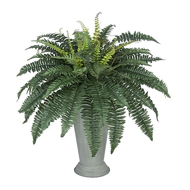 House of Silk Flowers Artificial Fern Floor Plant in Decorative Vase