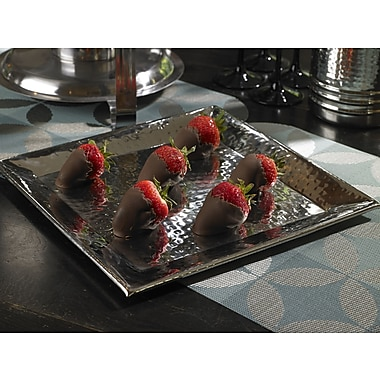 Artisan Square Stainless Steel Tray; 1.5'' H x 12'' W x 12'' D