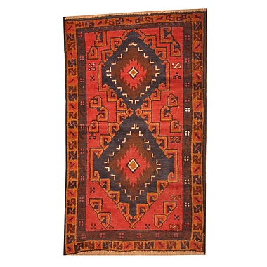 Herat Oriental Balouchi Hand-Knotted Red Area Rug