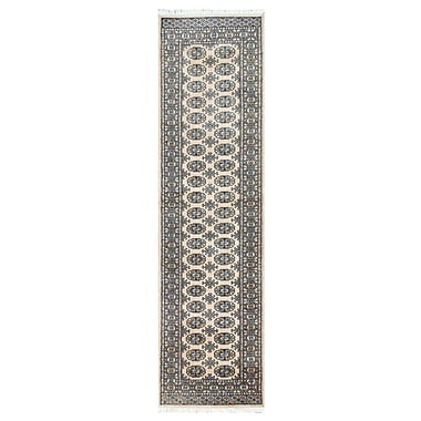 Herat Oriental Tribal Bokhara Hand-Knotted Ivory Area Rug