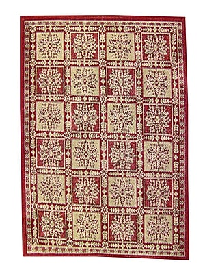 American Mills Patchwork Floral Red Area Rug; Runner 2'4'' x 6'7''