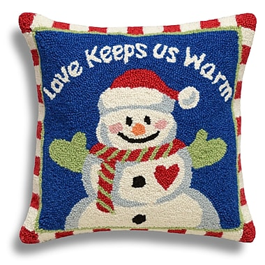 123 Creations Snowman/Love Keeps Us Warm Wool Throw Pillow