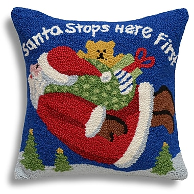 123 Creations Santa Stops Here First Wool Throw Pillow