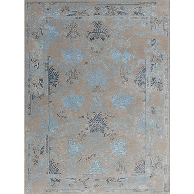 AMER Rugs Artist Hand-Tufted Silver/Blue Area Rug; Rectangle 2' x 3'