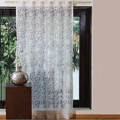 Textrade Sweet Nature/Floral Sheer Rod Pocket Single Curtain Panel