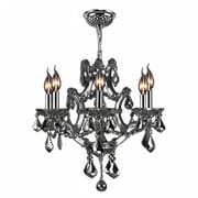 Worldwide Lighting Lyre 6-Light Crystal Chandelier; Chrome