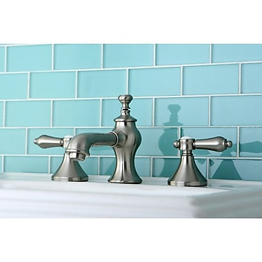Kingston Brass Bel Air Double Handle Widespread Bathroom Faucet w/ Pop-Up Drain; Satin Nickel