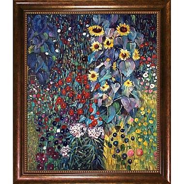 Wildon Home Farm Garden w/ Sunflowers by Gustav Klimt Framed Painting