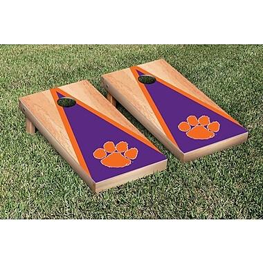 Victory Tailgate NCAA Hardcourt Triangle Version Cornhole Game Set; Clemson Tigers