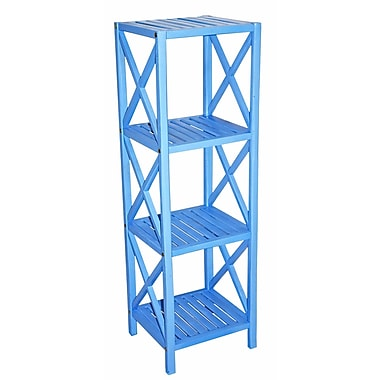 Bamboo54 Bamboo 4 Tier 46'' Etagere Bookcase; Light Blue