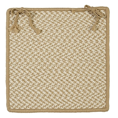 Colonial Mills Outdoor Houndstooth Tweed Chair Pad (Set of 4); Cuban Sand