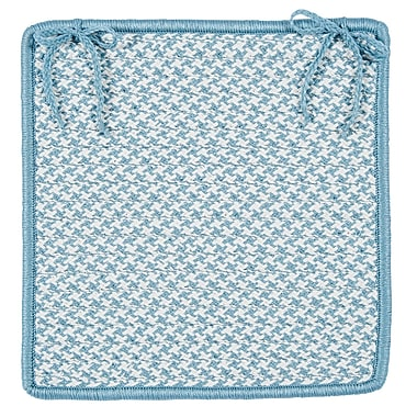 Colonial Mills Outdoor Houndstooth Tweed Chair Pad (Set of 4); Sea Blue