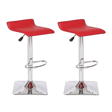 Container Adjustable Height Swivel Bar Stool; Red