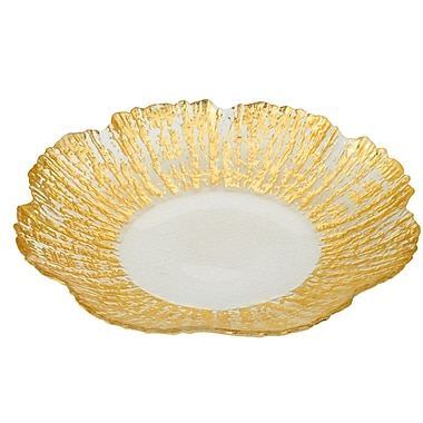ClassicTouch Trophy Scalloped Platter; Gold