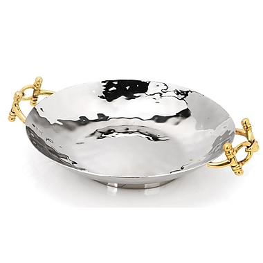 ClassicTouch Tervy Buckle Salad Bowl; Silver / Gold