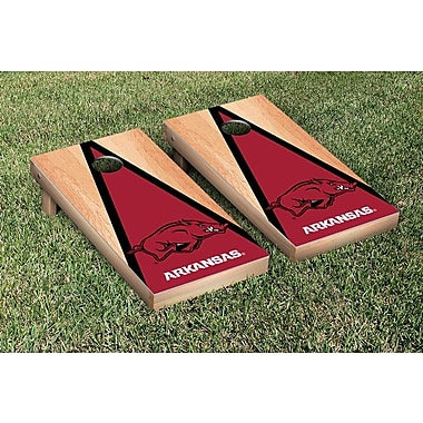 Victory Tailgate NCAA Hardcourt Triangle Version Cornhole Game Set; Arkansas Razorbacks