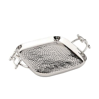 ClassicTouch Tervy Buckle Square Platter; Silver