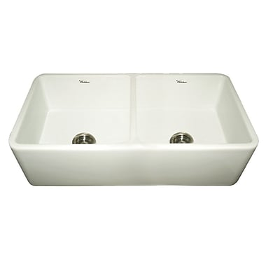 Whitehaus Collection Farmhaus Fireclay Duet Reversible Double Bowl Kitchen Sink; Biscuit