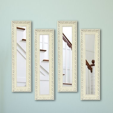 Rayne Mirrors Molly Dawn French Victorian White Mirror Panels (Set of 4); 21.5'' H x 9.5'' W x 2'' D